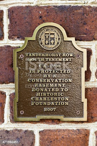 Charleston, South Carolina, USA - June 12th, 2013:  Historic Marker From The Historic Charleston Foundation Commemorating The Vanderhorst Row, South Tenement.