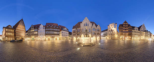 Historic market place in the old city of Hildesheim Germany bildbanksfoto