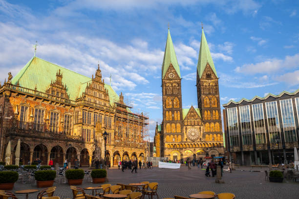 BREMEN, GERMANY - 16 APR 2016: Historic market square in the centre of the Hanseatic city. Panoramic sunset view. stock photo