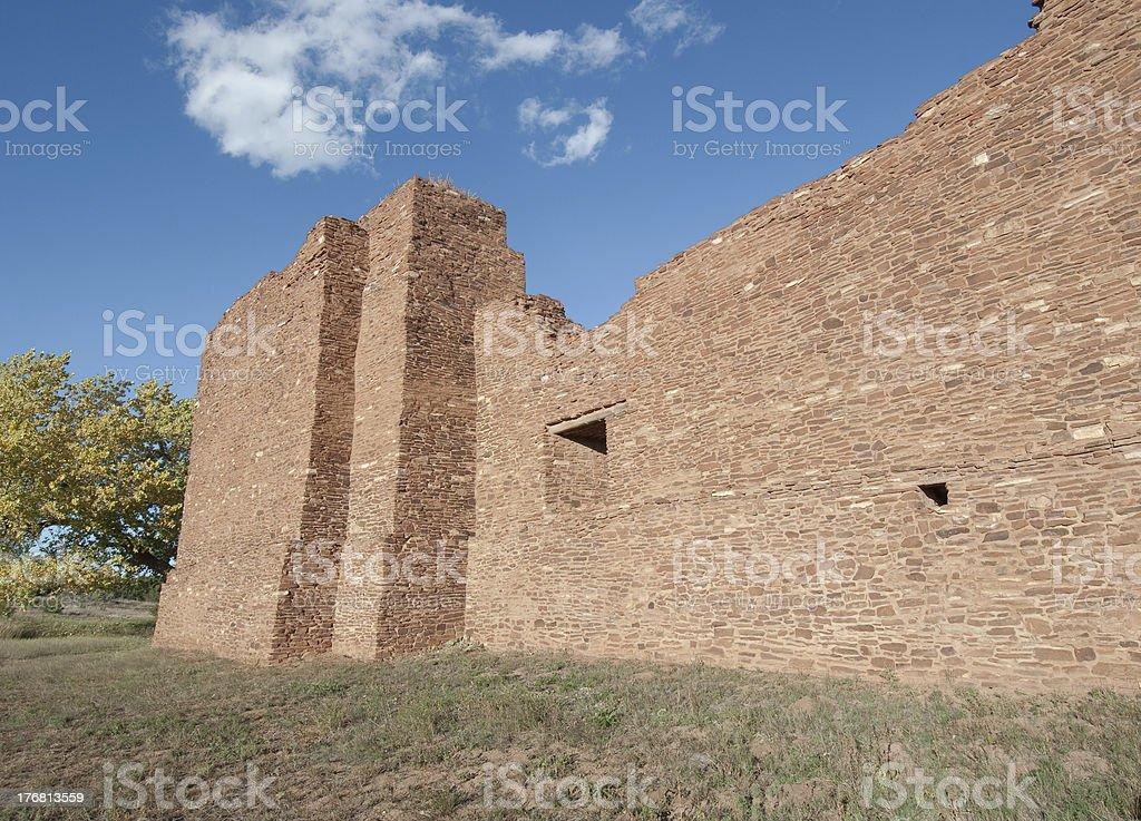 Historic Massive Stone Church Ruins in Southwest Desert stock photo