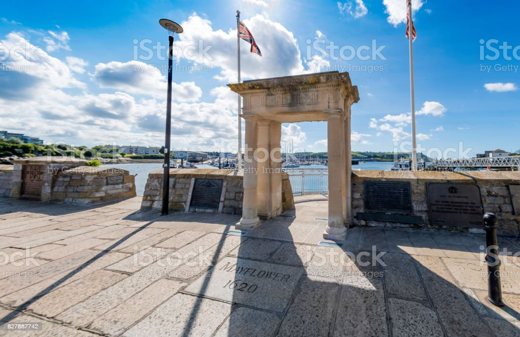 Historic Mayflower Steps in Plymouth stock photo