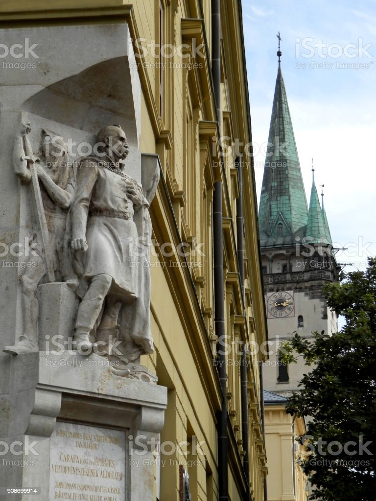 Historic memorial and cathedral in dowtown Presov, Slovakia stock photo