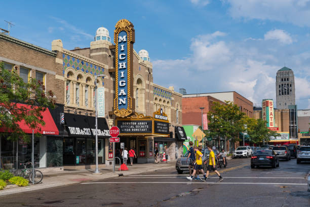 Historic Michigan Theater Ann Arbor, MI - September 21, 2019: Historic Michigan Theater, built in 1928, located on East Liberty St in Downtown, Ann Arbor ann arbor stock pictures, royalty-free photos & images