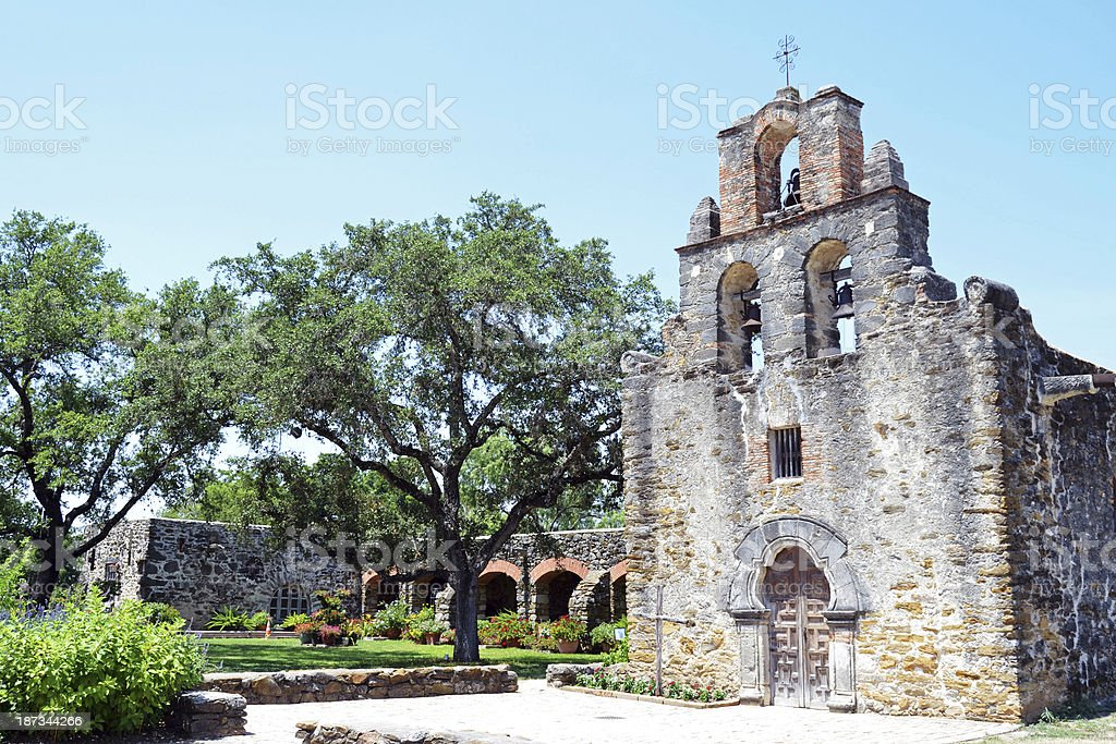 Historic Mission Espada Exterior San Antonio Missions National Historical Park stock photo