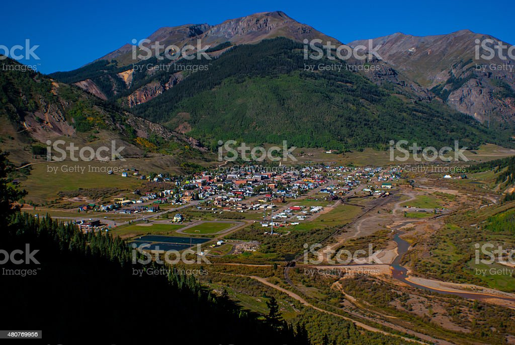 Historic Mountain mining town Silverton Colorado USA stock photo