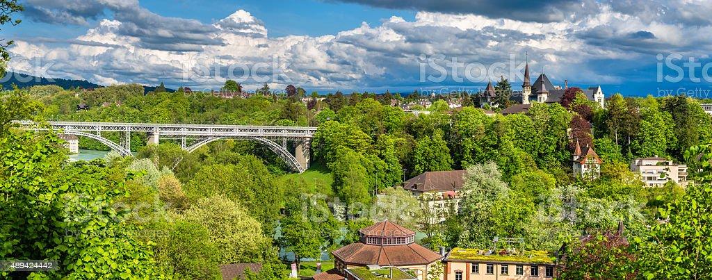 Historic Museum and Kirchenfeldbrucke bridge in Bern - Switzerla stock photo