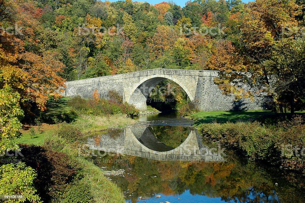 Historic National Road bridge over Casselman River, Maryland stock photo