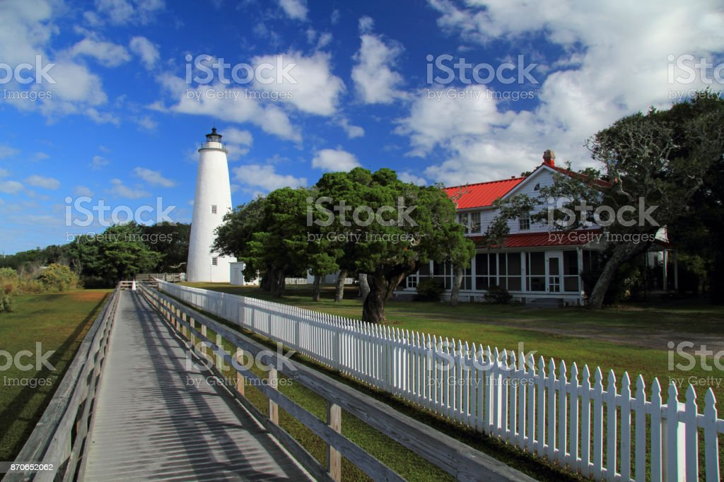 Historic Ocracoke Light stock photo