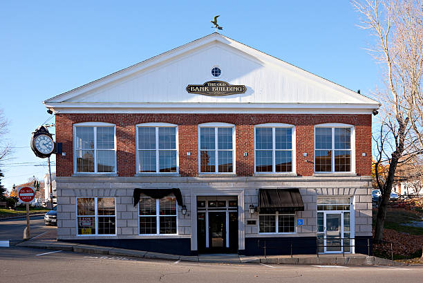Historic Old Bank Building, Boothbay Harbor, Maine stock photo