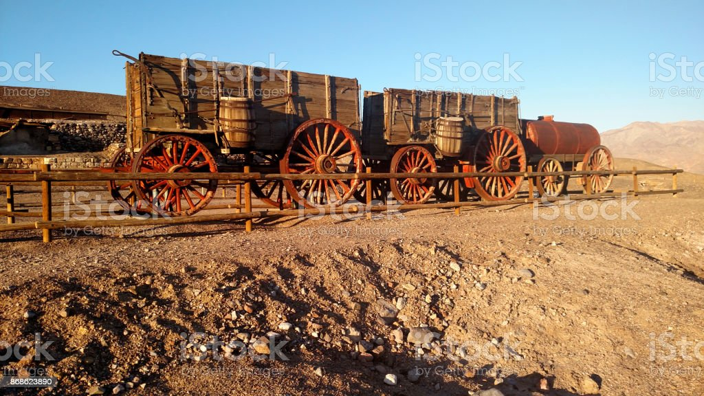 Historic Old Harmony Borax Works and 20-mule team wagon in Death Valley National Park California stock photo