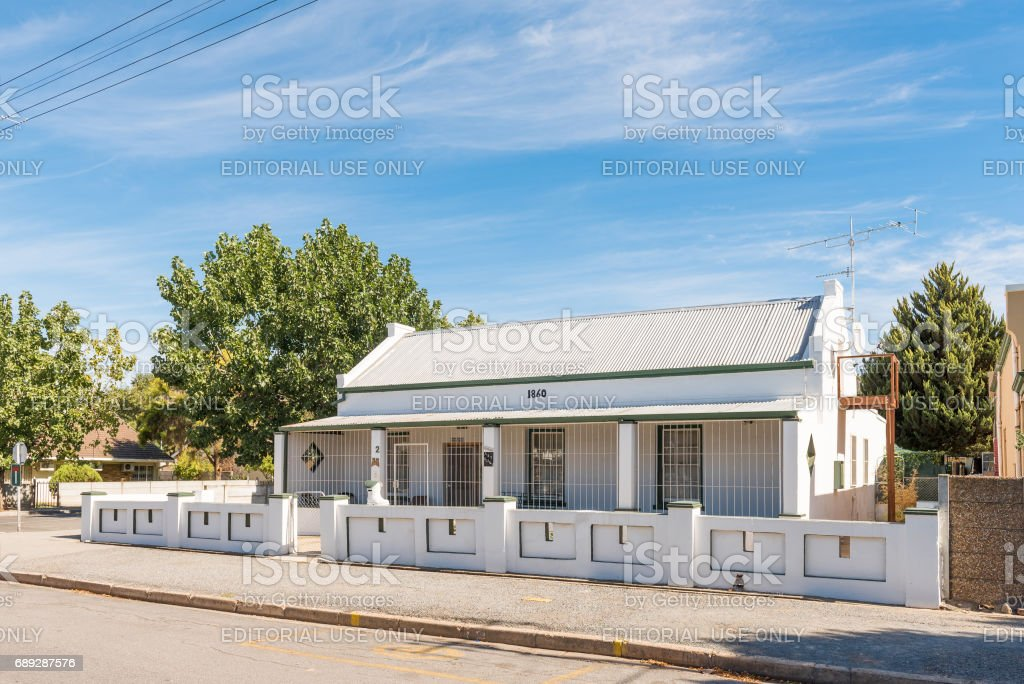 Historic old house, built in 1860, in Robertson stock photo