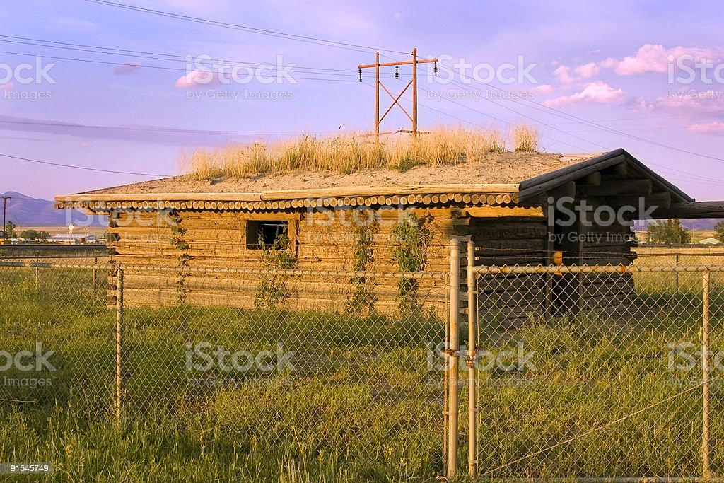 Historic Old Pinoeer House Behind the Fences stock photo