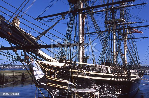 Historic old sailing ship for whaling in Mystic Harbor Connecticut