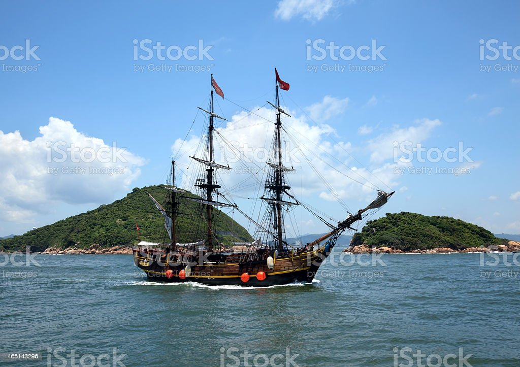 Historic old ship in the ocean stock photo
