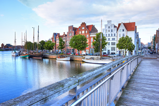 Historic old town luebeck at the river trave