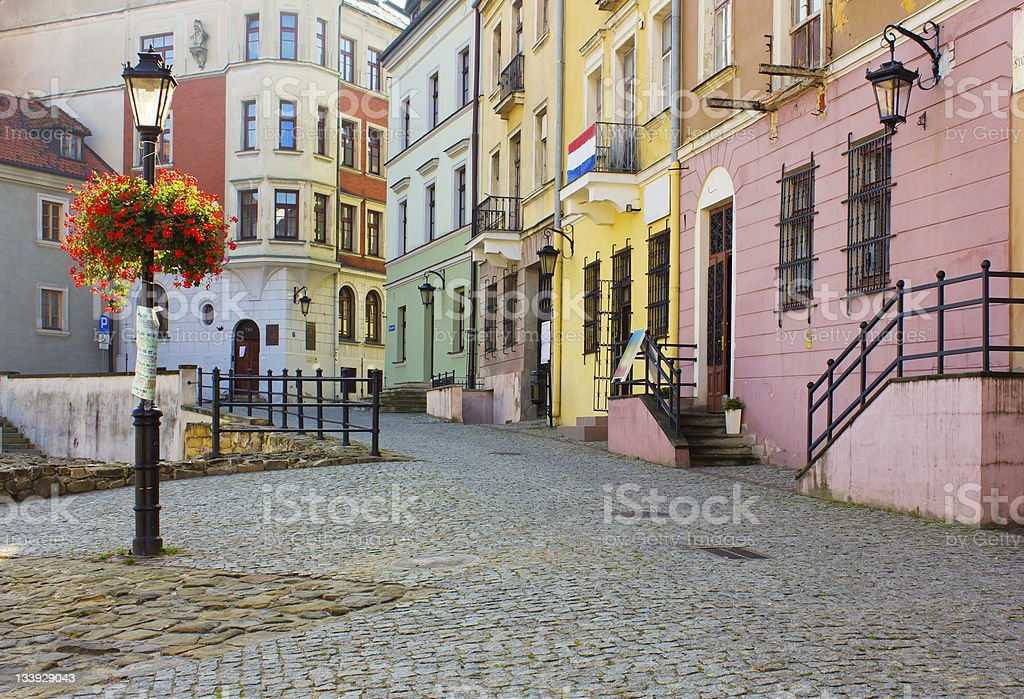 Historic Old Town traditional architecture in Lublin Poland stock photo