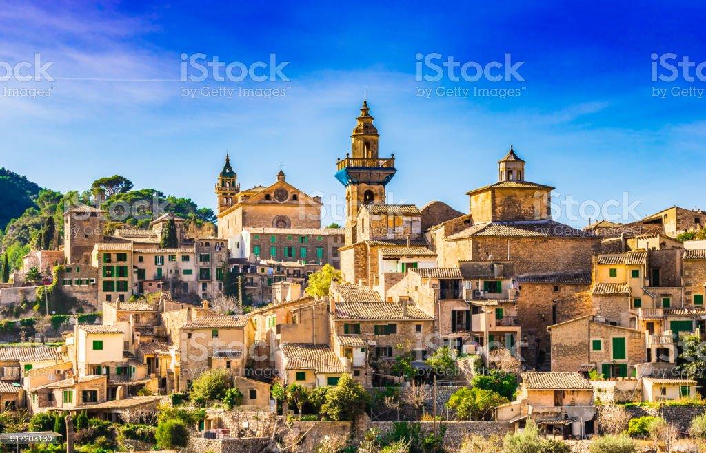 Historic old village Valldemossa in the Tramuntana mountains on Mallorca island, Spain stock photo