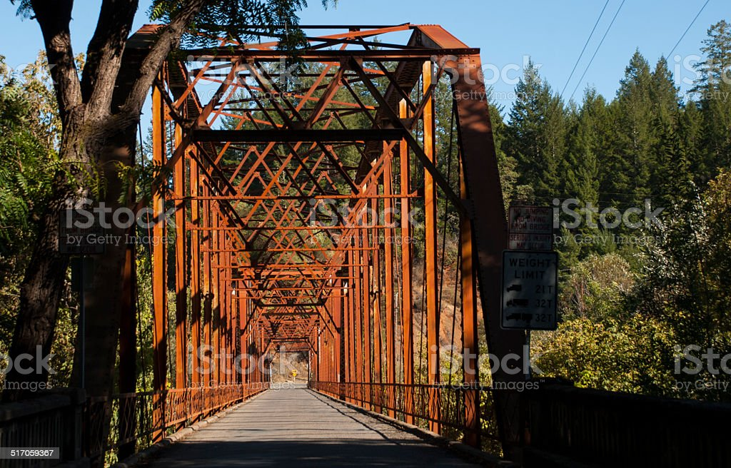 Historic Old Wohler Bridge over Russian River Sonoma County California stock photo