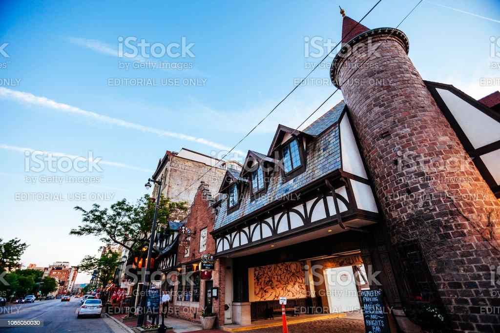Historic Old World Third Street, Milwaukee stock photo