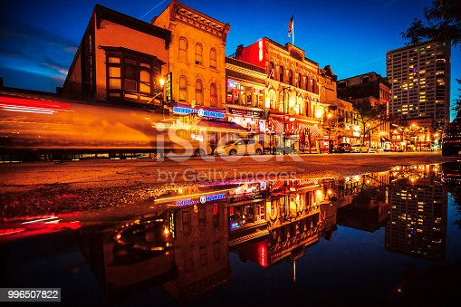 Historic Old World Third Street reflected in puddle. Milwaukee, Wisconsin, USA