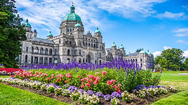 Historic parliament building in Victoria with colorful flowers, BC, Canada Beautiful view of historic parliament building in the citycenter of Victoria with colorful flowers on a sunny day, Vancouver Island, British Columbia, Canada british columbia stock pictures, royalty-free photos & images