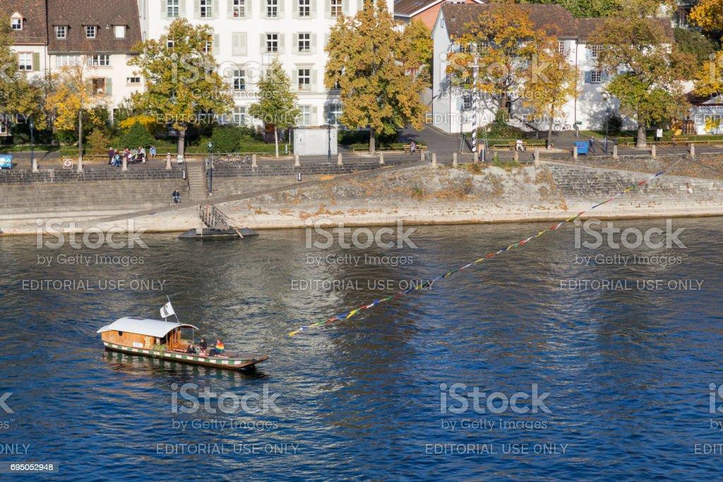 Historic passenger ferry in Basel, Switzerland stock photo