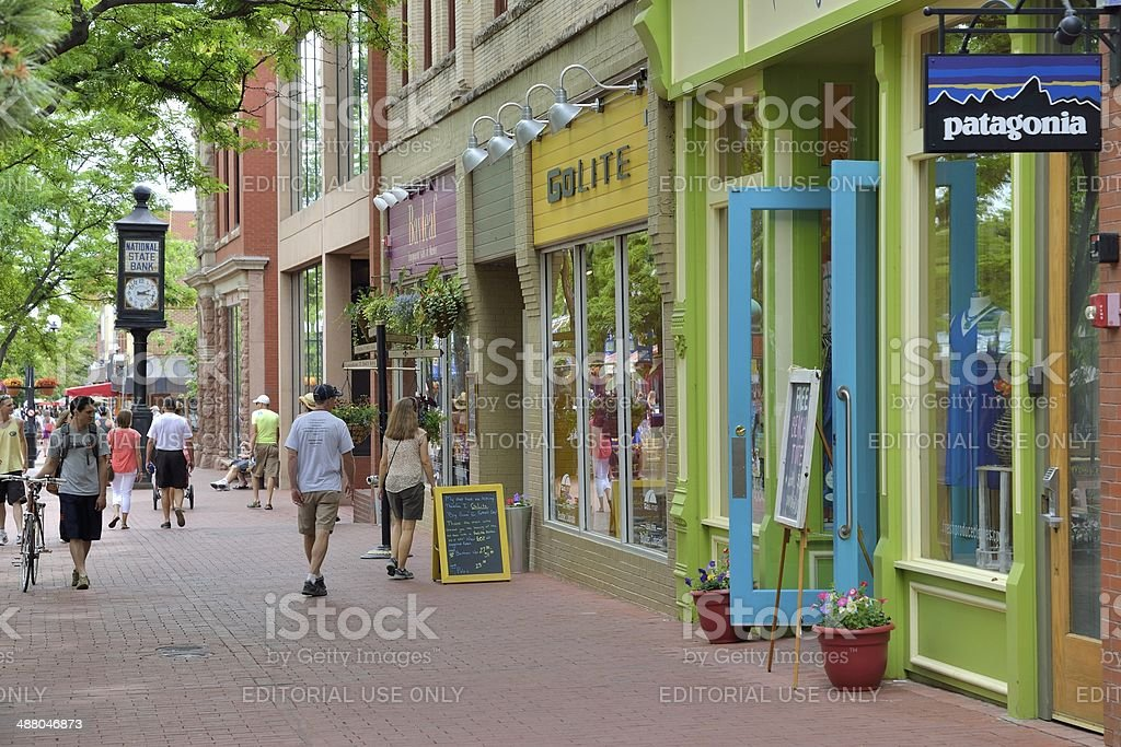Historic Pearl Street Mall in Boulder Colorado stock photo