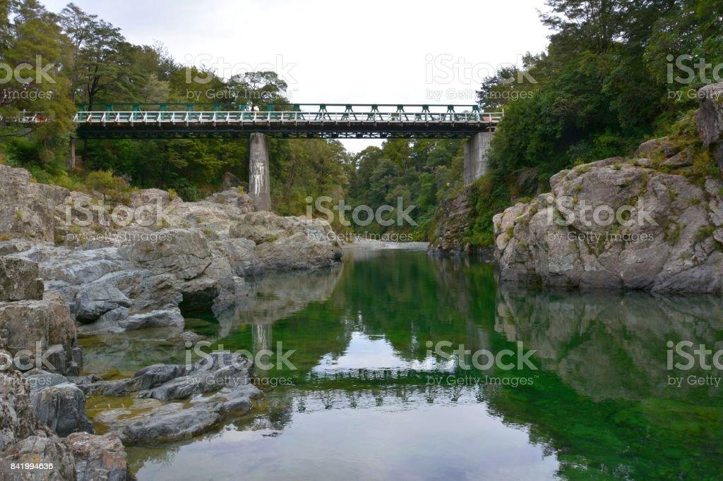 Historic Pelorus Bridge in New Zealand. stock photo