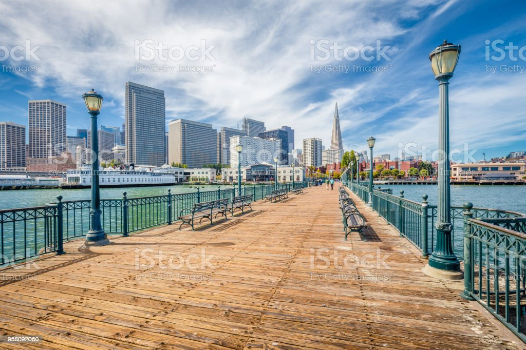 Historic Pier 7 with San Francisco financial district, California, USA stock photo