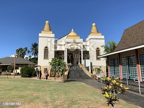 Maui, HI, USA October 6, 2019: A port town on Maui that thrived in whaling, and toured historical sites. Many Japanese settled in sugar cane fields and set up Lahaina Hongwanji Mission for them.