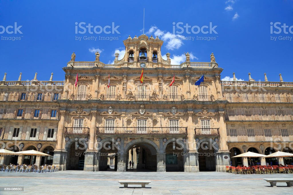 Historic Plaza Mayor in Salamanca on a sunny day, Castilla y Leon stock photo