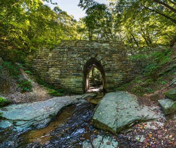 Historic Poinsett Bridge made of Stone Ancient Historic Poinsett Bridge made of stone near Greenville, South Carolina. liberty bridge budapest stock pictures, royalty-free photos & images