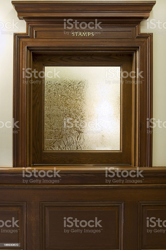 Historic Post Office Building Counter Windows stock photo