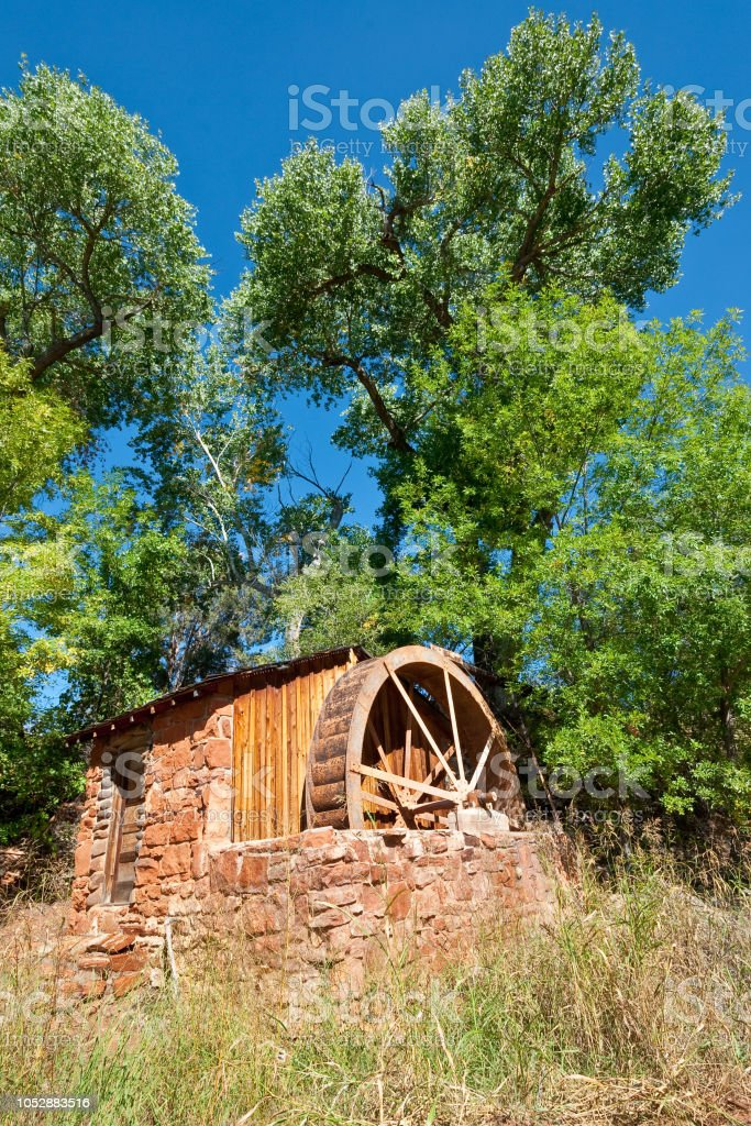 Historic Power Generating Water Wheel stock photo