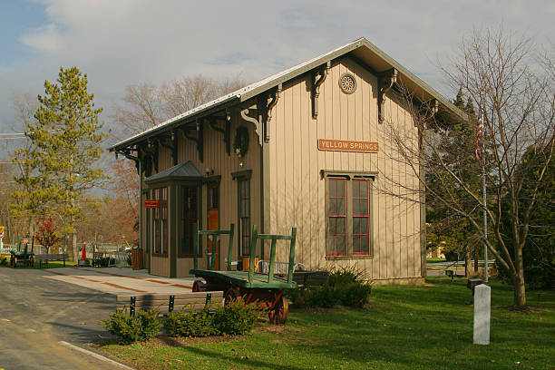 Historic Railroad Station, Yellow Springs, Ohio stock photo