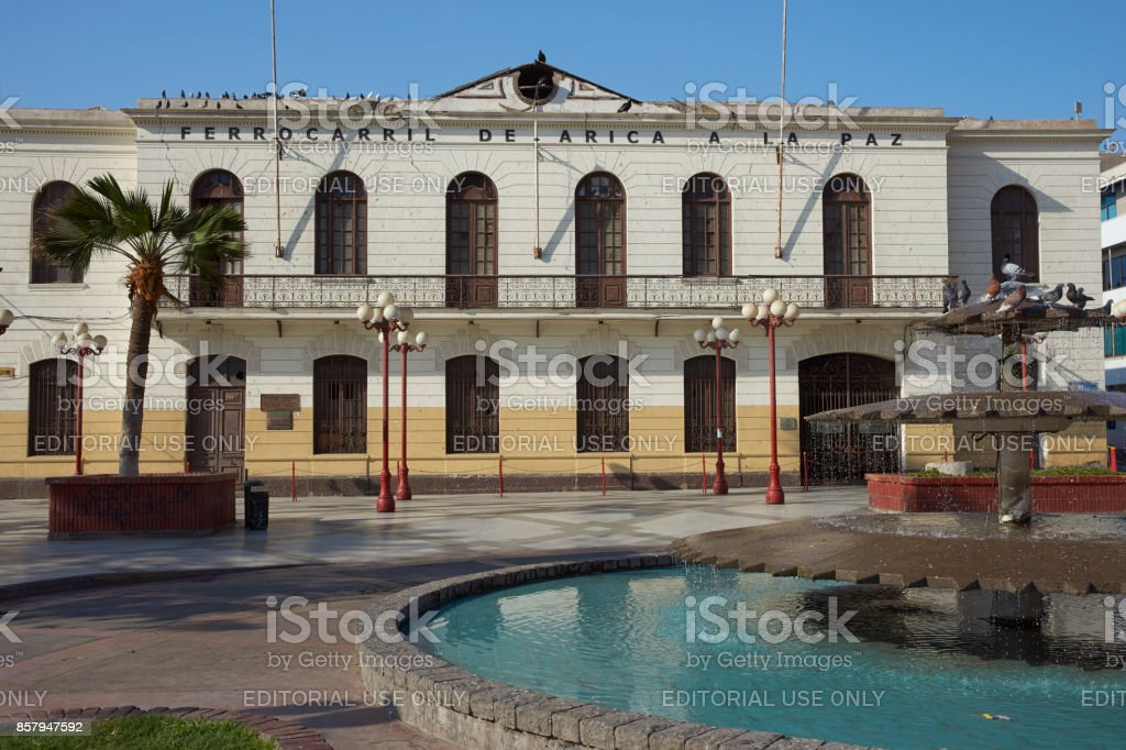 Historic railway station in Arica stock photo