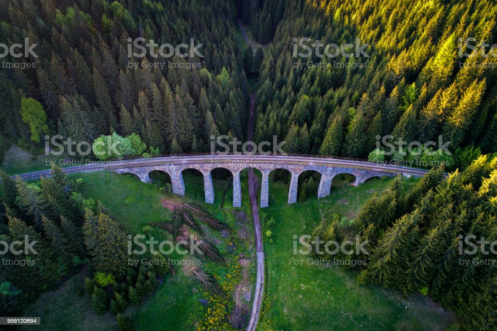 Historic railway viaduct near Telgart in Slovakia stock photo