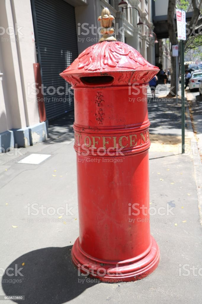 Historic red mailbox in Sydney, New south Wales Australia stock photo