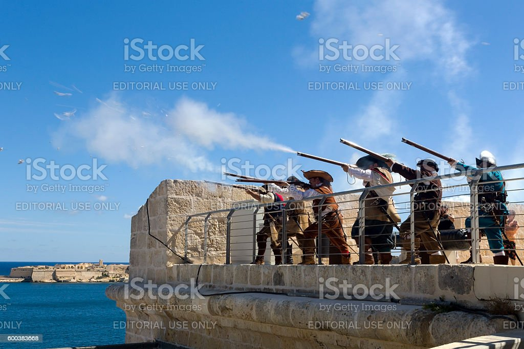 Historic re-enactment in period costumes stock photo