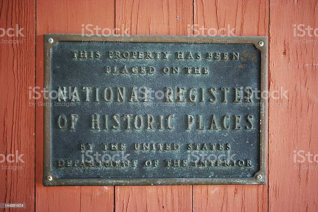 Historic Register Plaque stock photo