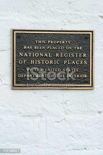 Historic Register Plaque. Reads: This Property Has Been Placed On The National Register of Historic Places By The United States Department Of The Interior.See more of my