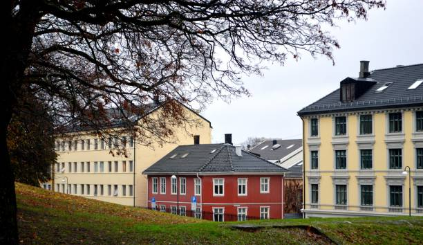 Historic residential district of Oslo, Norway stock photo