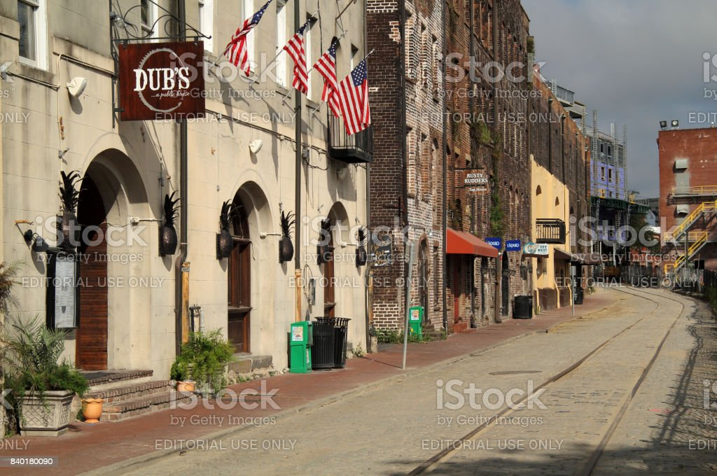 Historic River Street stock photo