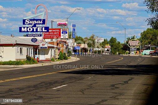 Seligman, Arizona, USA - July 30, 2020: An empty historic Route 66 goes through the heart of Seligman, Arizona.