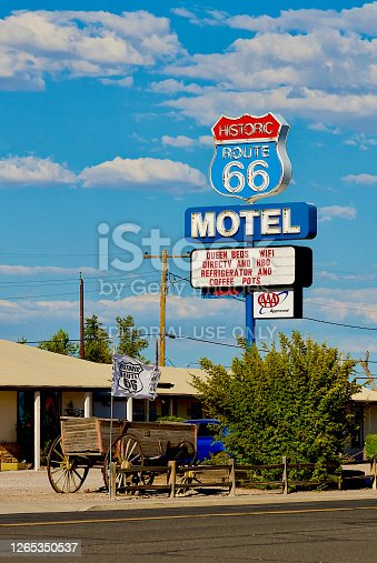 """Seligman, Arizona, USA - July 30, 2020: The """"Historic Route 66 Motel"""" is an iconic landmark along historic Route 66 that goes through the heart of Seligman, Arizona."""