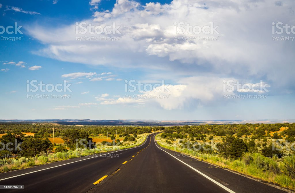 Historic Route 66. Road to New Mexico from Arizona. Countryside in the USA stock photo