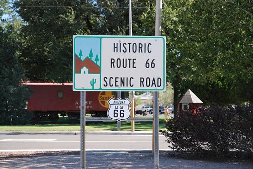 Historic Route 66 Scenic Road sign in KIngman, Arizona, USA. August 7, 2007.