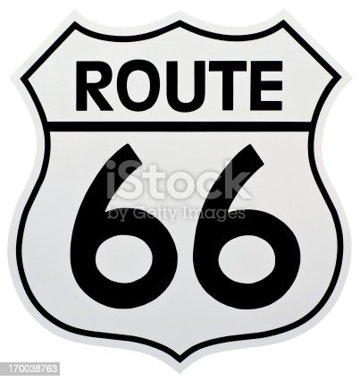 Historic Route 66 Sign.  Shaped like a shield and isolated with a clipping path.