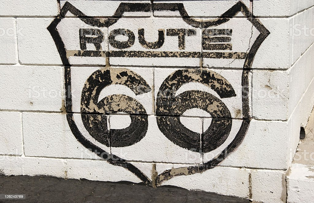 Historic Route 66 Sign, Nostalgia, Grunge, Road-Trip royalty-free stock photo