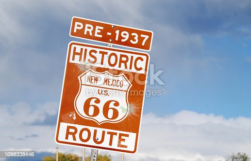 Sign in New Mexico showing a very old stretch of historic Route 66